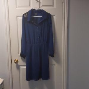 city chic - navy drawstring dress
